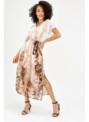 Jument Şifon V Yaka Yarasa Salaş Beli Lastikli Elbise - Taba Çiçek Taba